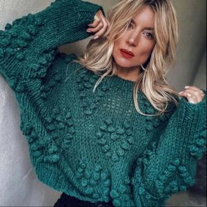 Wishlist Green Chunky Knit Heart Shirt Sweater